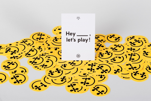 Hey Let's Play posters stickers and postcards design for the studio